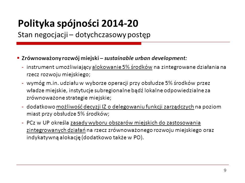 Plany zastosowania instrumentów terytorialnych w Polsce – ZIT: Idea: partnerstwa reprezentujące miasta i ich obszary funkcjonalne włączone w zarządzanie PO i mogące realizować zintegrowane projekty, finansowane z EFRR i EFS – stosowanie opcjonalne; tylko w RPO.