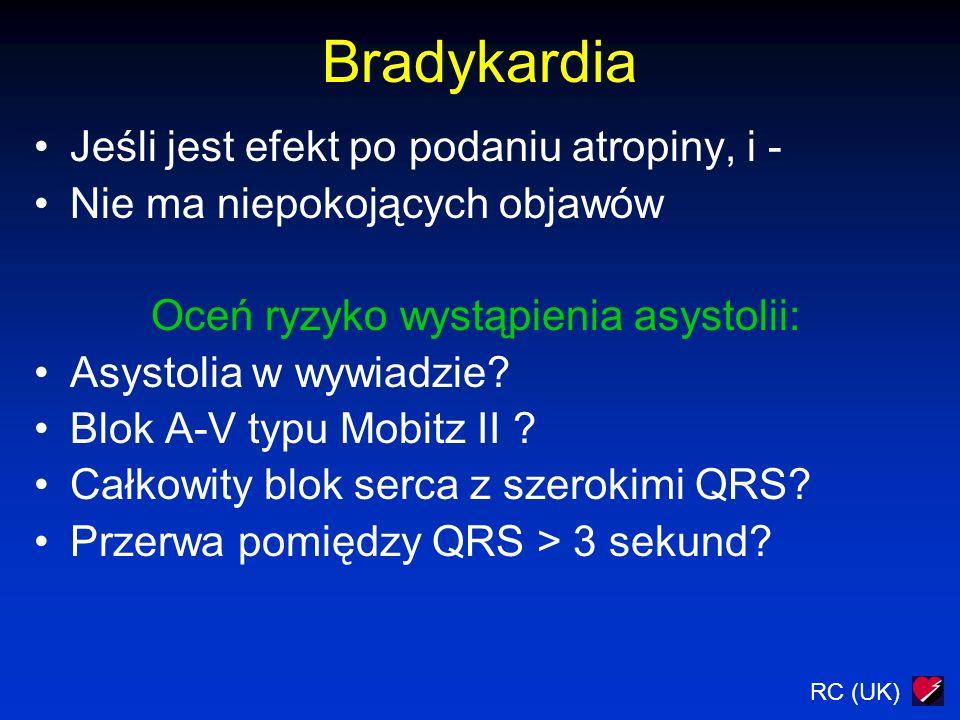 RC (UK) Bradykardia Jeśli jest efekt po podaniu atropiny, i - Nie ma niepokojących objawów Oceń ryzyko wystąpienia asystolii: Asystolia w wywiadzie.