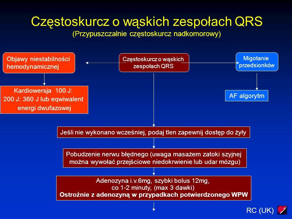 RC (UK) Częstoskurcz o wąskich zespołach QRS (Przypuszczalnie częstoskurcz nadkomorowy) Częstoskurcz o wąskich zespołach QRS Migotanie przedsionków AF algorytm Jeśli nie wykonano wcześniej, podaj tlen zapewnij dostęp do żyły Pobudzenie nerwu błędnego (uwaga masażem zatoki szyjnej można wywołać przejściowe niedokrwienie lub udar mózgu) Adenozyna i.v.6mg, szybki bolus 12mg, co 1-2 minuty, (max 3 dawki) Ostrożnie z adenozyną w przypadkach potwierdzonego WPW Objawy niestabilności hemodynamicznej Kardiowersja 100 J: 200 J: 360 J lub eqwiwalent energi dwufazowej