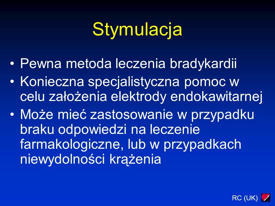 RC (UK) Migotanie przedsionków Pośrednie ryzyko Brak zaburzeń perfuzji/strukturalnych chorób serca Początek > 48 godzin: Farmakologiczna kontrola HR Antykoagulanty Kardiowersja w późniejszym terminie Początek < 48 godzin: Leki p/krzepliwe : heparyna Antyarytmiki: propafenon, sotalol, amiodaron Kardiowersja jeśli są wskazania