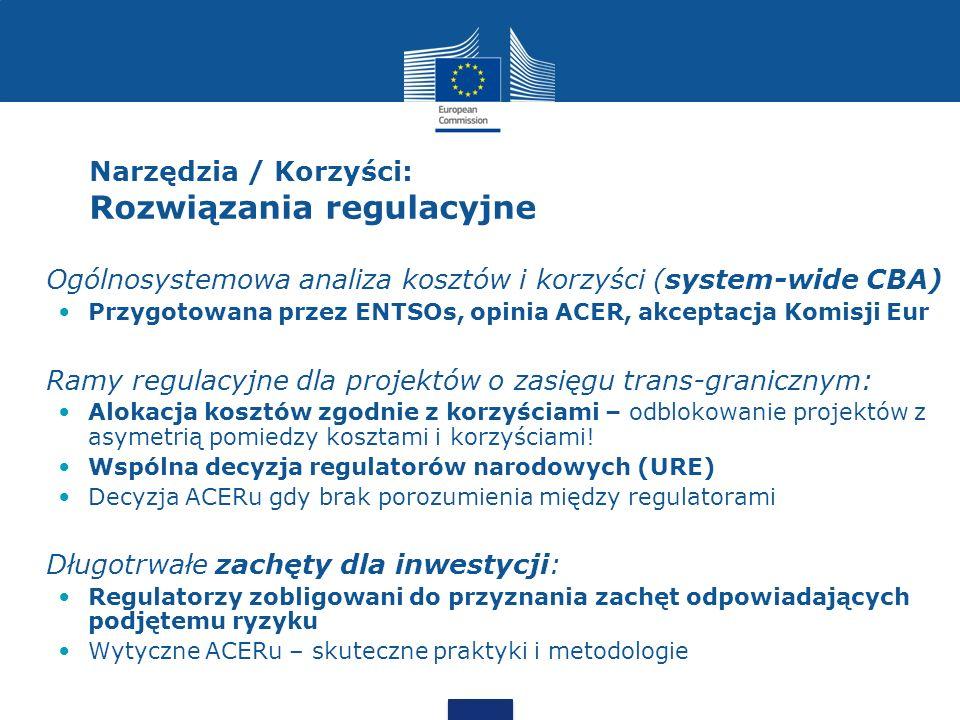 Narzędzia / Korzyści: Rozwiązania regulacyjne Ogólnosystemowa analiza kosztów i korzyści (system-wide CBA) Przygotowana przez ENTSOs, opinia ACER, akc