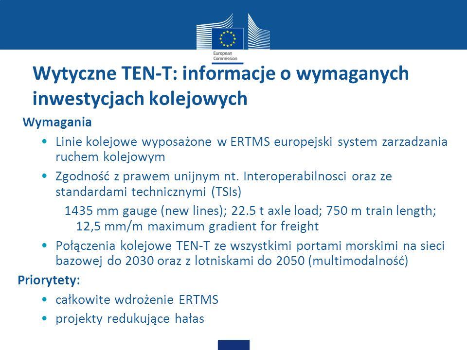 Wytyczne TEN-T: informacje o wymaganych inwestycjach kolejowych Wymagania Linie kolejowe wyposażone w ERTMS europejski system zarzadzania ruchem kolej