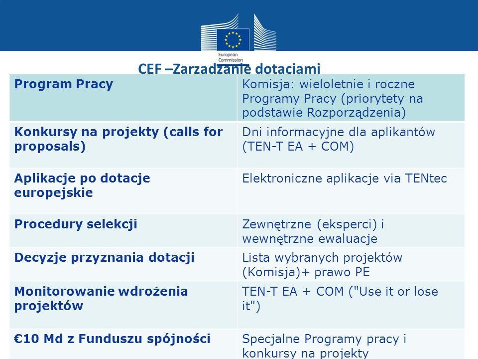 CEF –Zarzadzanie dotacjami Program PracyKomisja: wieloletnie i roczne Programy Pracy (priorytety na podstawie Rozporządzenia) Konkursy na projekty (ca