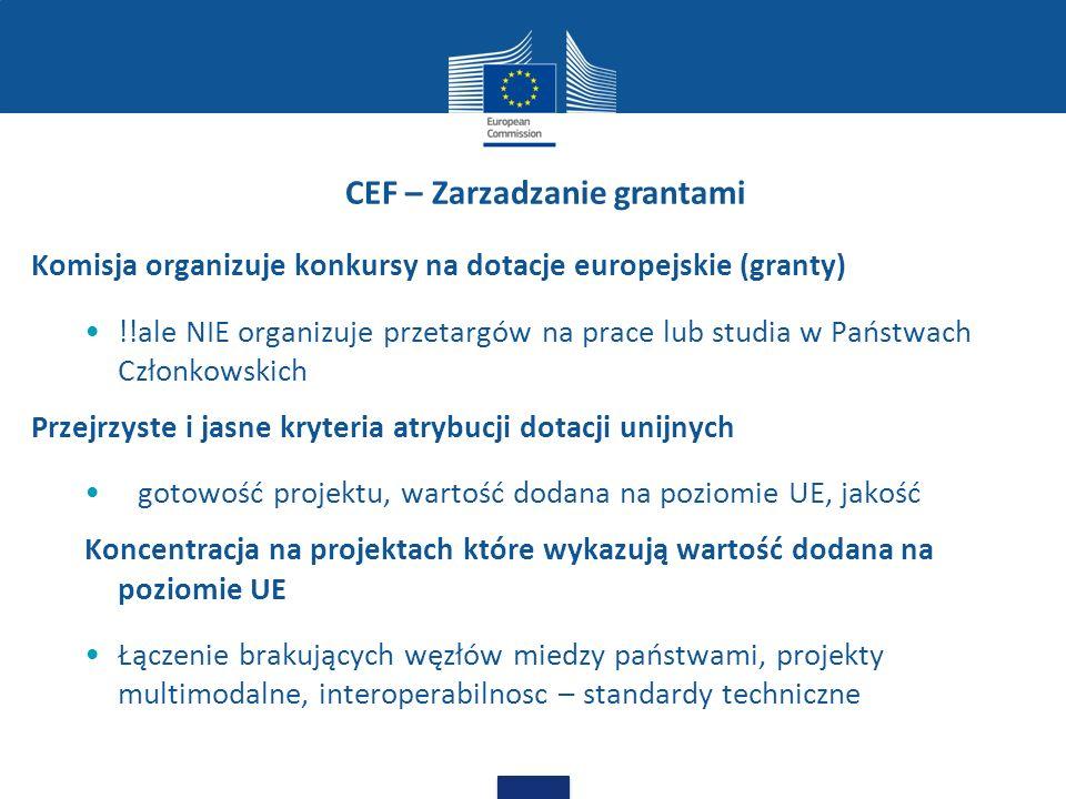 CEF – Zarzadzanie grantami Komisja organizuje konkursy na dotacje europejskie (granty) !!ale NIE organizuje przetargów na prace lub studia w Państwach