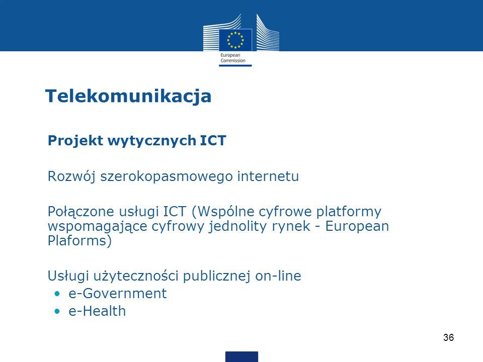 Telekomunikacja 36 Projekt wytycznych ICT Rozwój szerokopasmowego internetu Połączone usługi ICT (Wspólne cyfrowe platformy wspomagające cyfrowy jedno