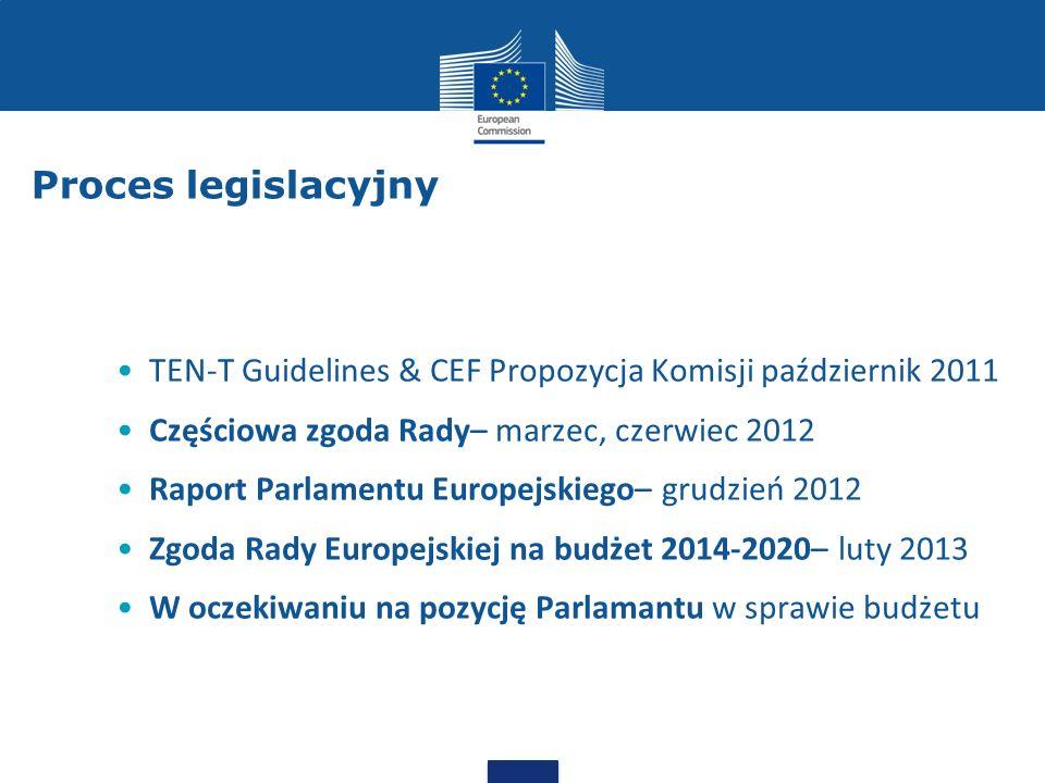Proces legislacyjny TEN-T Guidelines & CEF Propozycja Komisji październik 2011 Częściowa zgoda Rady– marzec, czerwiec 2012 Raport Parlamentu Europejsk