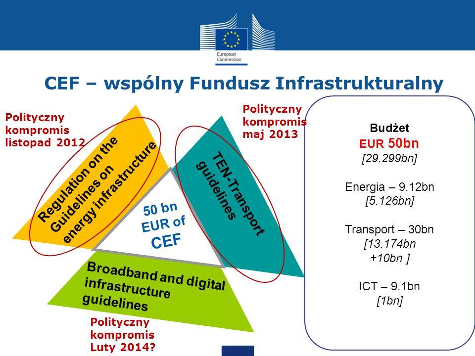 CEF: wartość dodana dla Europy Europa potrzebuje inteligentnych, zrównoważonych i w pełni zintegrowanych sieci transportowych, energetycznych i telekomunikacyjnych => Strategia Europe 2020 Sieci trans-Europejskie nieosiągalne na poziomie krajów członkowskich; interwencja na poziomie UE pozwala minimalizować koszt całkowity [Tytuł XVI Traktatu o UE] CEF – maksymalny impakt z każdego unijnego budżetu CEF – uproszczenia administracyjne i wspólne rozwiązania dla trzech sektorów – gdzie tylko możliwe i uzasadnione –> niższe koszty instrumentu CEF – podniesienie atrakcyjności projektów infrastrukturalnych dla kapitału prywatnego – instrumenty/obiekty do inwestycji dla inwestorów instytucjonalnych (fundusze emerytalne/ubezpieczeniowe)