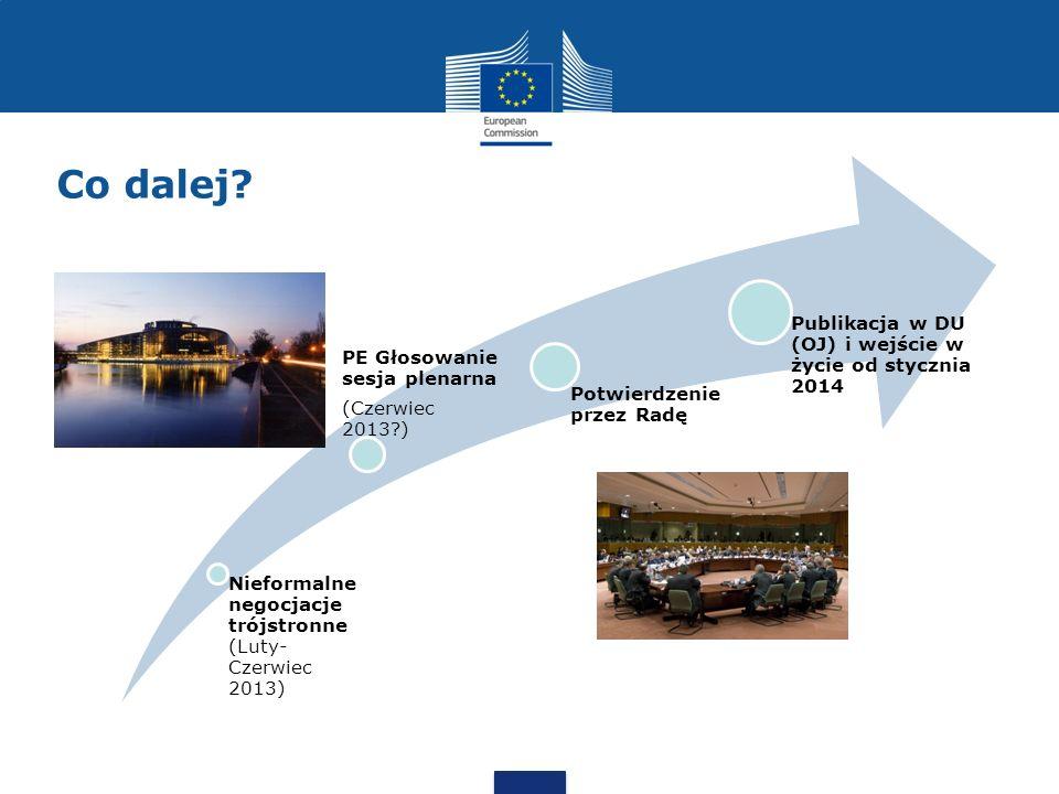 Co dalej? Nieformalne negocjacje trójstronne (Luty- Czerwiec 2013) PE Głosowanie sesja plenarna (Czerwiec 2013?) Potwierdzenie przez Radę Publikacja w