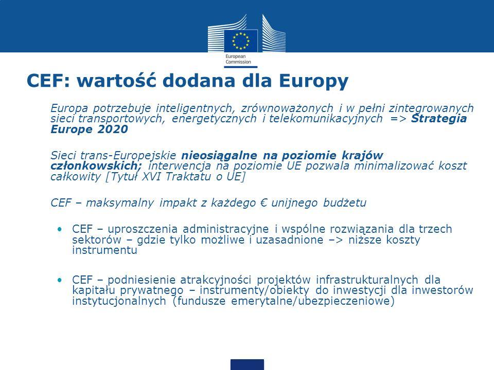 CEF: wartość dodana dla Europy Europa potrzebuje inteligentnych, zrównoważonych i w pełni zintegrowanych sieci transportowych, energetycznych i teleko