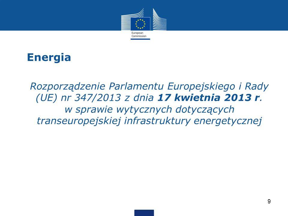 Energia 9 Rozporządzenie Parlamentu Europejskiego i Rady (UE) nr 347/2013 z dnia 17 kwietnia 2013 r. w sprawie wytycznych dotyczących transeuropejskie