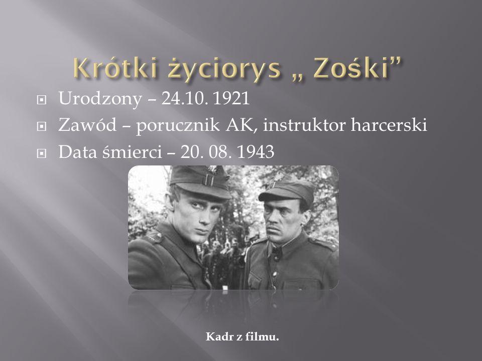 Urodzony – 24.10. 1921 Zawód – porucznik AK, instruktor harcerski Data śmierci – 20. 08. 1943 Kadr z filmu.