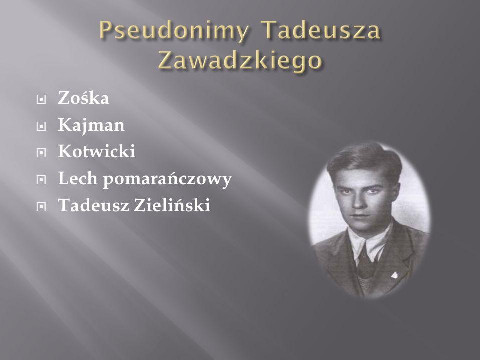Zośka Kajman Kotwicki Lech pomarańczowy Tadeusz Zieliński