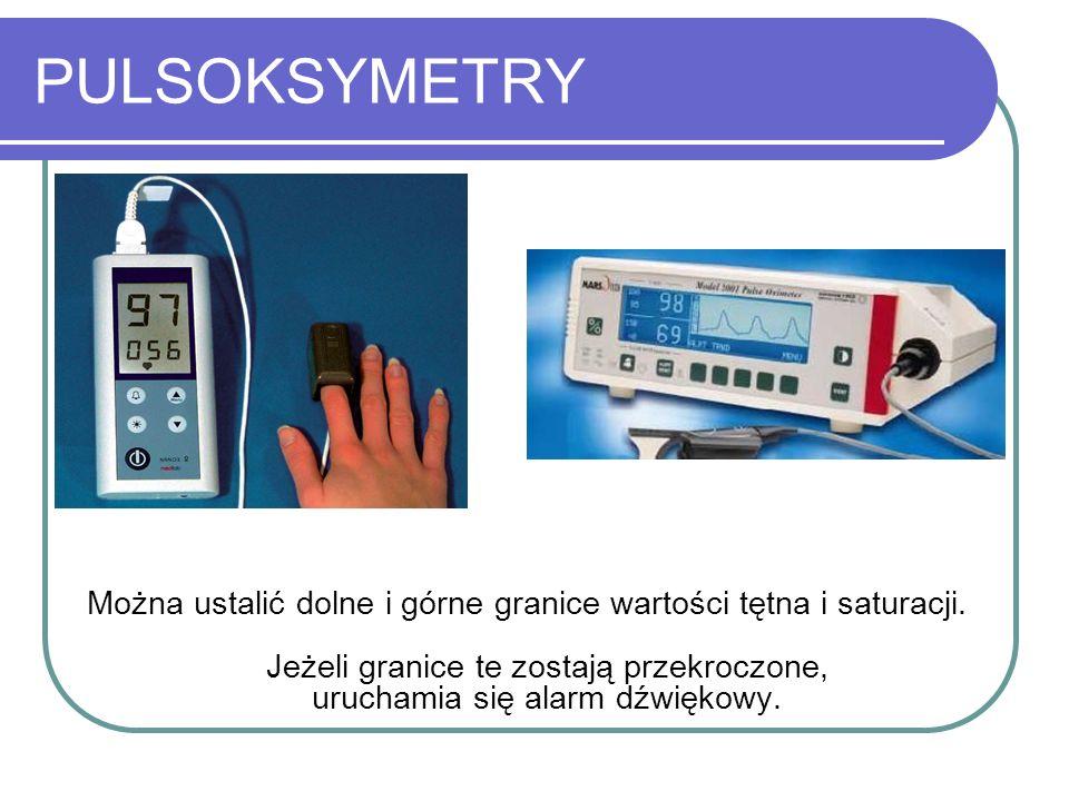 PULSOKSYMETRY Można ustalić dolne i górne granice wartości tętna i saturacji. Jeżeli granice te zostają przekroczone, uruchamia się alarm dźwiękowy.
