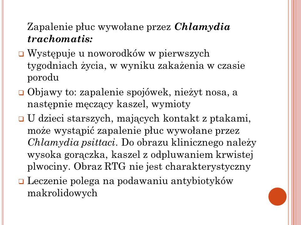 Zapalenie płuc wywołane przez Chlamydia trachomatis: Występuje u noworodków w pierwszych tygodniach życia, w wyniku zakażenia w czasie porodu Objawy t