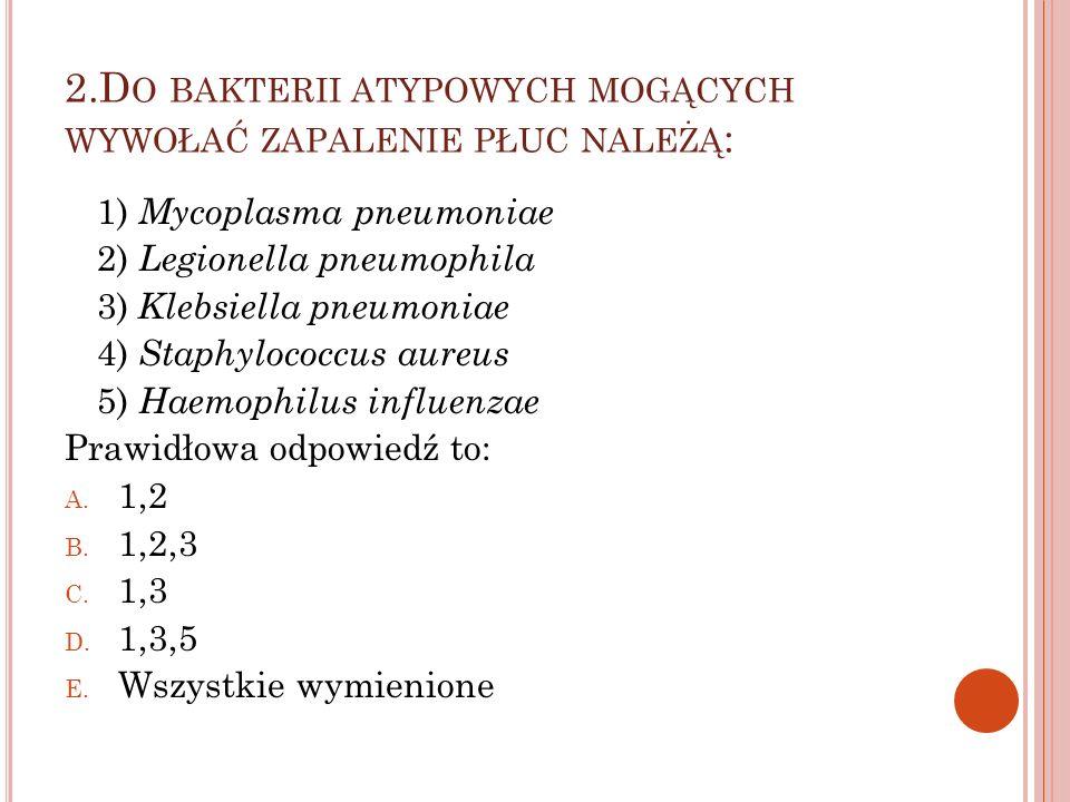 2.D O BAKTERII ATYPOWYCH MOGĄCYCH WYWOŁAĆ ZAPALENIE PŁUC NALEŻĄ : 1) Mycoplasma pneumoniae 2) Legionella pneumophila 3) Klebsiella pneumoniae 4) Staph