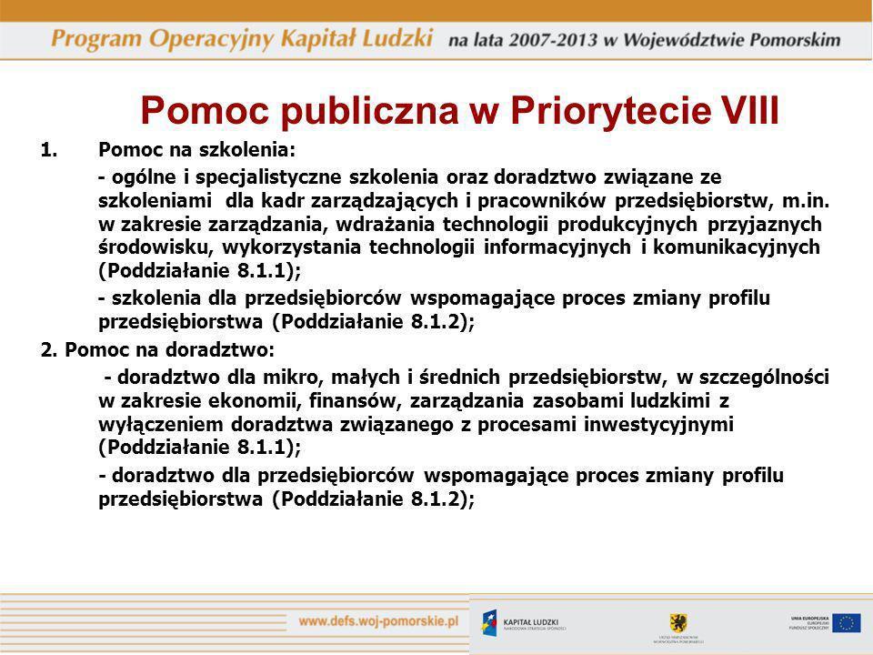 Pomoc publiczna w Priorytecie VIII 1.Pomoc na szkolenia: - ogólne i specjalistyczne szkolenia oraz doradztwo związane ze szkoleniami dla kadr zarządzających i pracowników przedsiębiorstw, m.in.