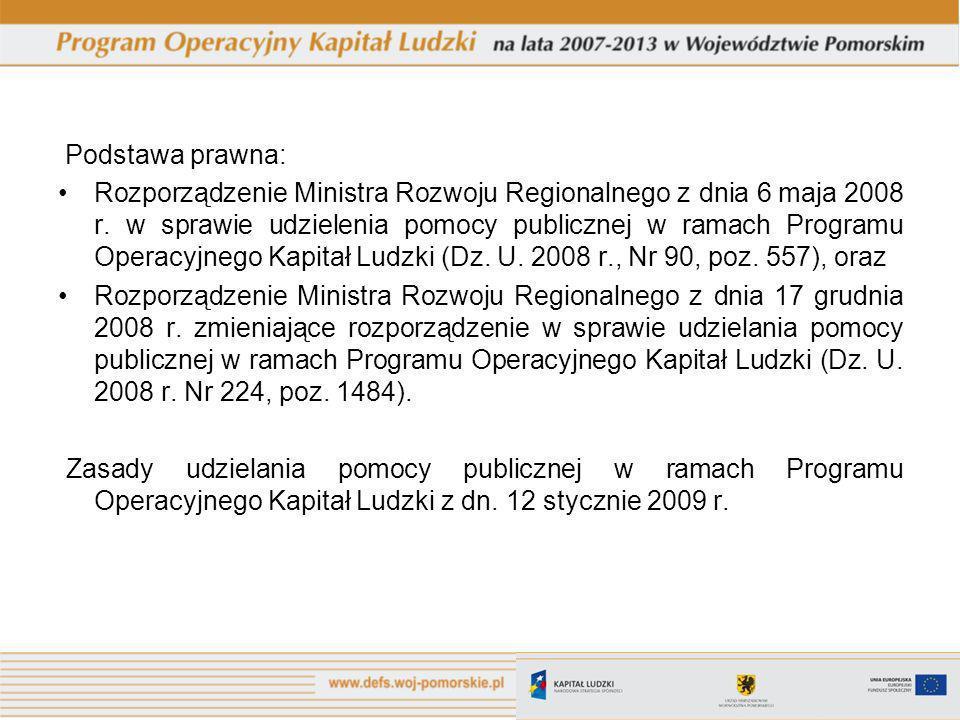 Podstawa prawna: Rozporządzenie Ministra Rozwoju Regionalnego z dnia 6 maja 2008 r.