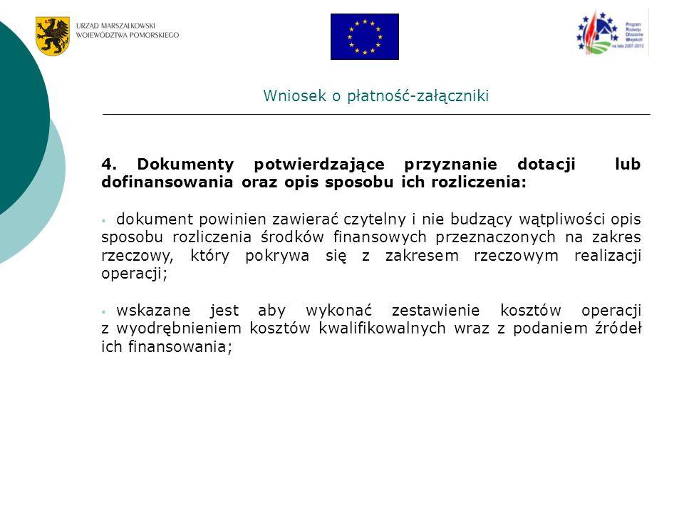 Wniosek o płatność-załączniki 4. Dokumenty potwierdzające przyznanie dotacji lub dofinansowania oraz opis sposobu ich rozliczenia: dokument powinien z