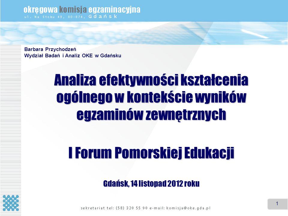 1 1 Analiza efektywności kształcenia ogólnego w kontekście wyników egzaminów zewnętrznych I Forum Pomorskiej Edukacji Gdańsk, 14 listopad 2012 roku Ba