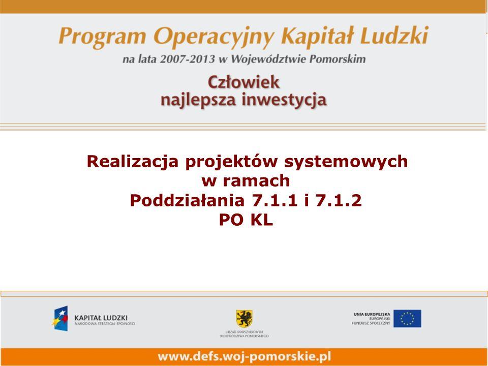 Realizacja projektów systemowych w ramach Poddziałania 7.1.1 i 7.1.2 PO KL
