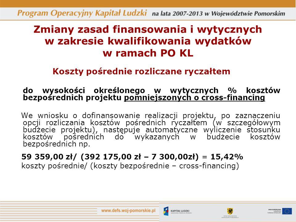 Koszty pośrednie rozliczane ryczałtem do wysokości określonego w wytycznych % kosztów bezpośrednich projektu pomniejszonych o cross-financing We wniosku o dofinansowanie realizacji projektu, po zaznaczeniu opcji rozliczania kosztów pośrednich ryczałtem (w szczegółowym budżecie projektu), następuje automatyczne wyliczenie stosunku kosztów pośrednich do wykazanych w budżecie kosztów bezpośrednich np.