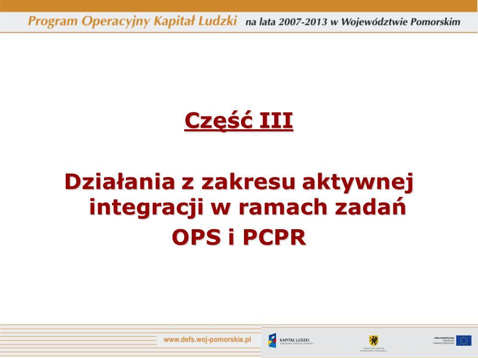 Część III Działania z zakresu aktywnej integracji w ramach zadań OPS i PCPR