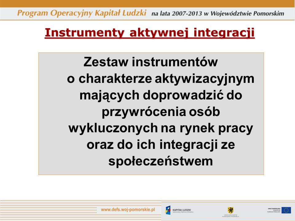 Instrumenty aktywnej integracji Zestaw instrumentów o charakterze aktywizacyjnym mających doprowadzić do przywrócenia osób wykluczonych na rynek pracy