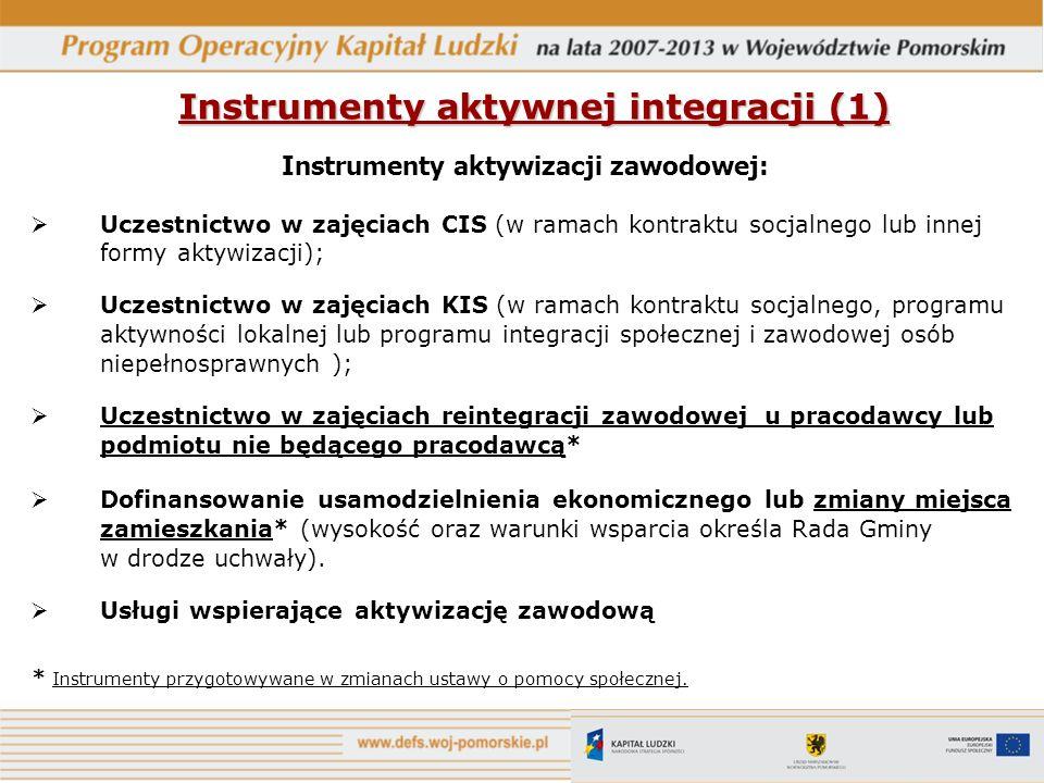 Instrumenty aktywnej integracji (1) Instrumenty aktywizacji zawodowej: Uczestnictwo w zajęciach CIS (w ramach kontraktu socjalnego lub innej formy akt