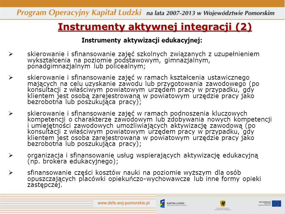 Instrumenty aktywnej integracji (2) Instrumenty aktywizacji edukacyjnej: skierowanie i sfinansowanie zajęć szkolnych związanych z uzupełnieniem wykszt