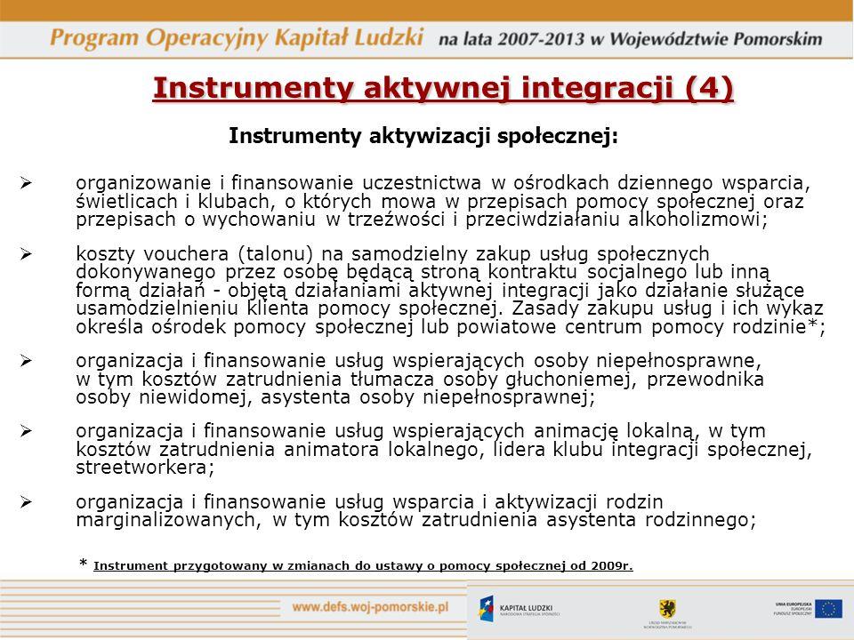 Instrumenty aktywnej integracji (4) Instrumenty aktywizacji społecznej: organizowanie i finansowanie uczestnictwa w ośrodkach dziennego wsparcia, świe
