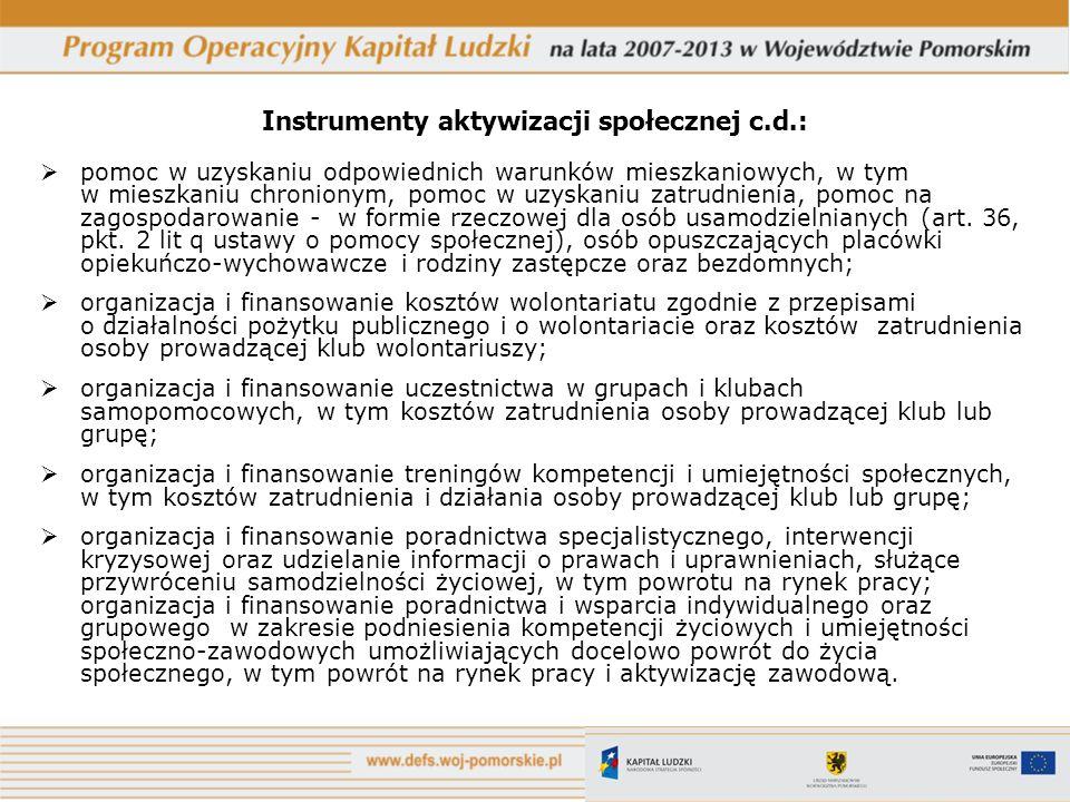Instrumenty aktywizacji społecznej c.d.: pomoc w uzyskaniu odpowiednich warunków mieszkaniowych, w tym w mieszkaniu chronionym, pomoc w uzyskaniu zatr