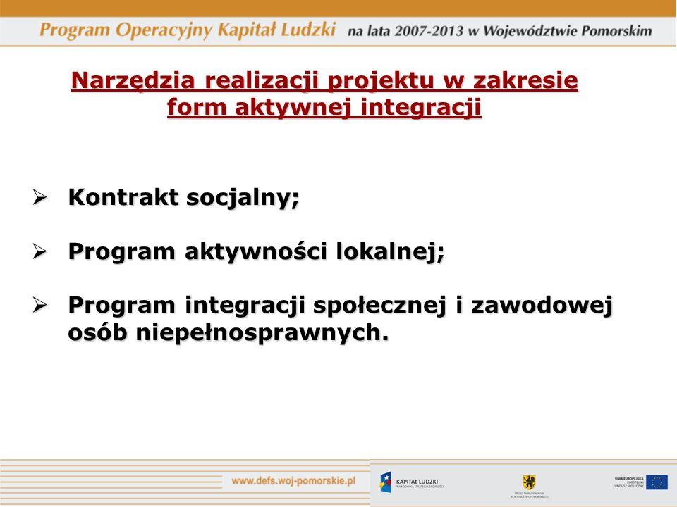Narzędzia realizacji projektu w zakresie form aktywnej integracji Kontrakt socjalny; Kontrakt socjalny; Program aktywności lokalnej; Program aktywnośc