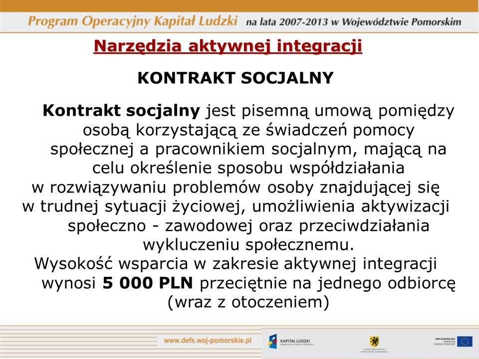 Narzędzia aktywnej integracji KONTRAKT SOCJALNY Kontrakt socjalny jest pisemną umową pomiędzy osobą korzystającą ze świadczeń pomocy społecznej a prac