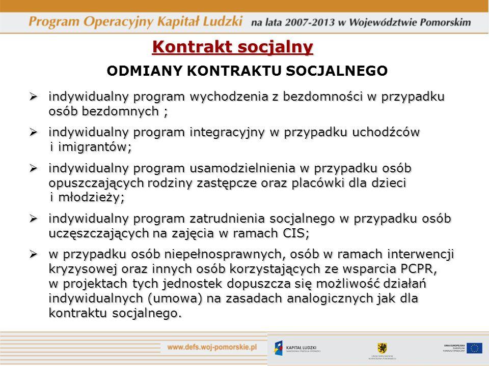 Kontrakt socjalny ODMIANY KONTRAKTU SOCJALNEGO indywidualny program wychodzenia z bezdomności w przypadku osób bezdomnych; indywidualny program wychod