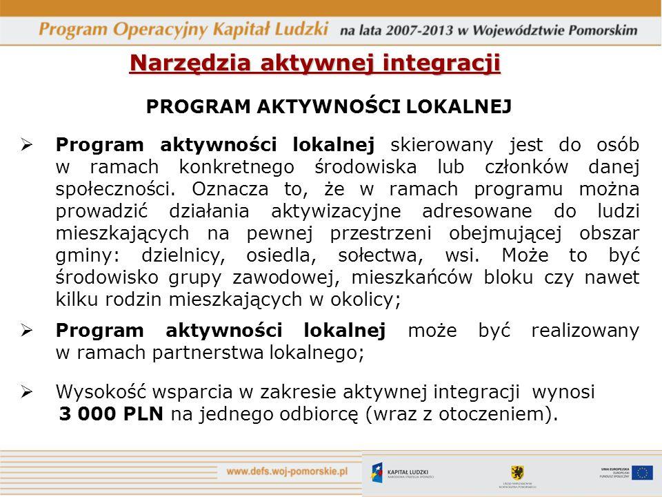 Narzędzia aktywnej integracji PROGRAM AKTYWNOŚCI LOKALNEJ Program aktywności lokalnej skierowany jest do osób w ramach konkretnego środowiska lub czło