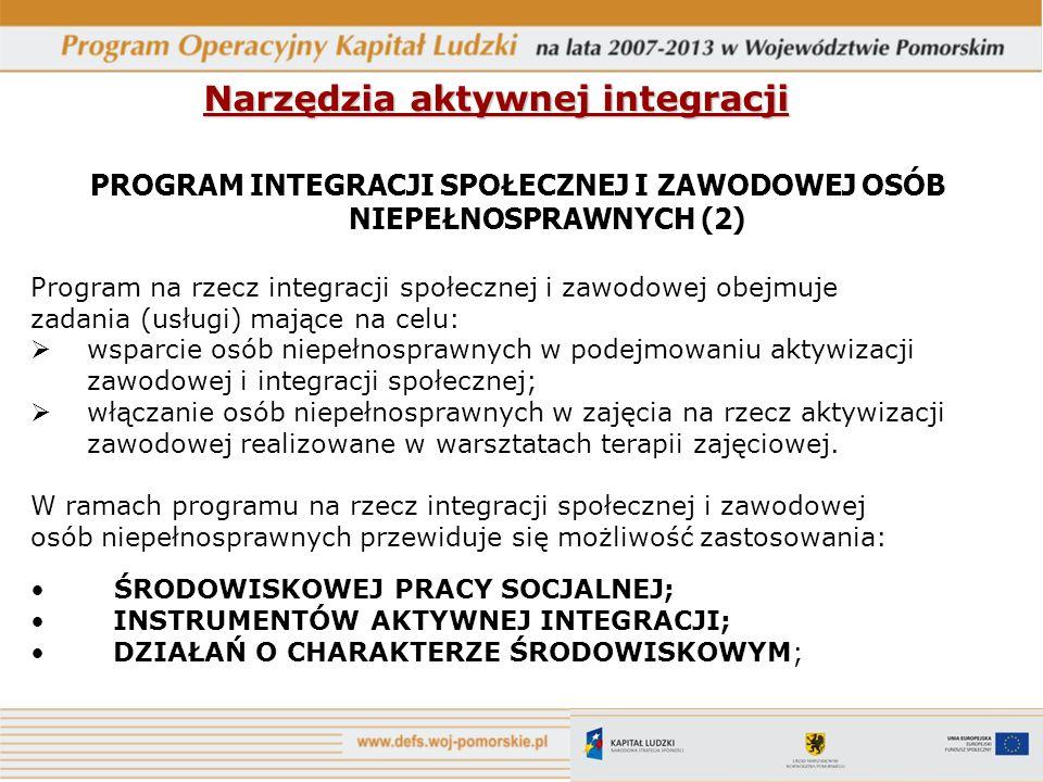 Narzędzia aktywnej integracji PROGRAM INTEGRACJI SPOŁECZNEJ I ZAWODOWEJ OSÓB NIEPEŁNOSPRAWNYCH (2) Program na rzecz integracji społecznej i zawodowej