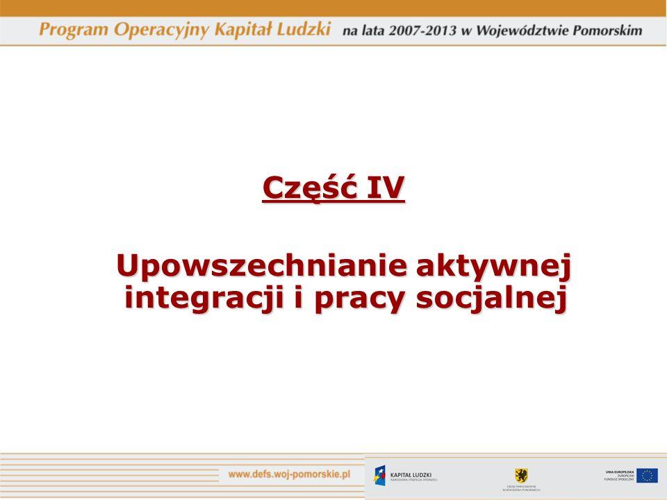 Część IV Upowszechnianie aktywnej integracji i pracy socjalnej Upowszechnianie aktywnej integracji i pracy socjalnej