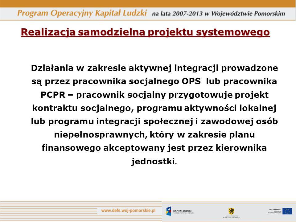 Realizacja samodzielna projektu systemowego Działania w zakresie aktywnej integracji prowadzone są przez pracownika socjalnego OPS lub pracownika PCPR