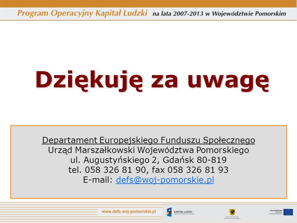 Dziękuję za uwagę Departament Europejskiego Funduszu Społecznego Urząd Marszałkowski Wojew ó dztwa Pomorskiego ul. Augustyńskiego 2, Gdańsk 80-819 tel