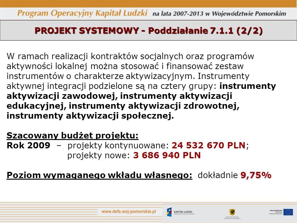 PROJEKT SYSTEMOWY - Poddziałanie 7.1.1 (2/2) W ramach realizacji kontraktów socjalnych oraz programów aktywności lokalnej można stosować i finansować