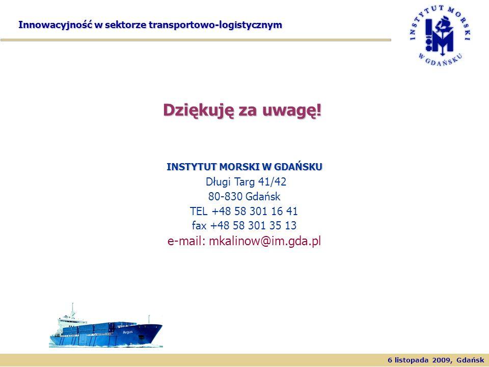 6 listopada 2009, Gdańsk Innowacyjność w sektorze transportowo-logistycznym INSTYTUT MORSKI W GDAŃSKU INSTYTUT MORSKI W GDAŃSKU Długi Targ 41/42 80-83