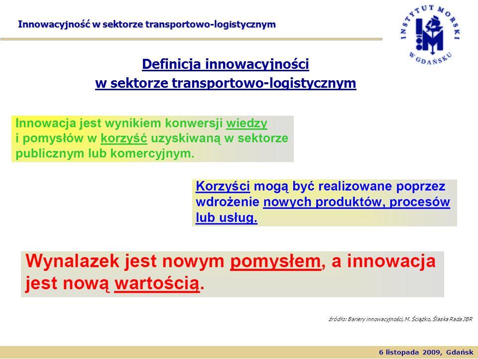 6 listopada 2009, Gdańsk Innowacyjność w sektorze transportowo-logistycznym Timber Products Definicja innowacyjności w sektorze transportowo-logistycz