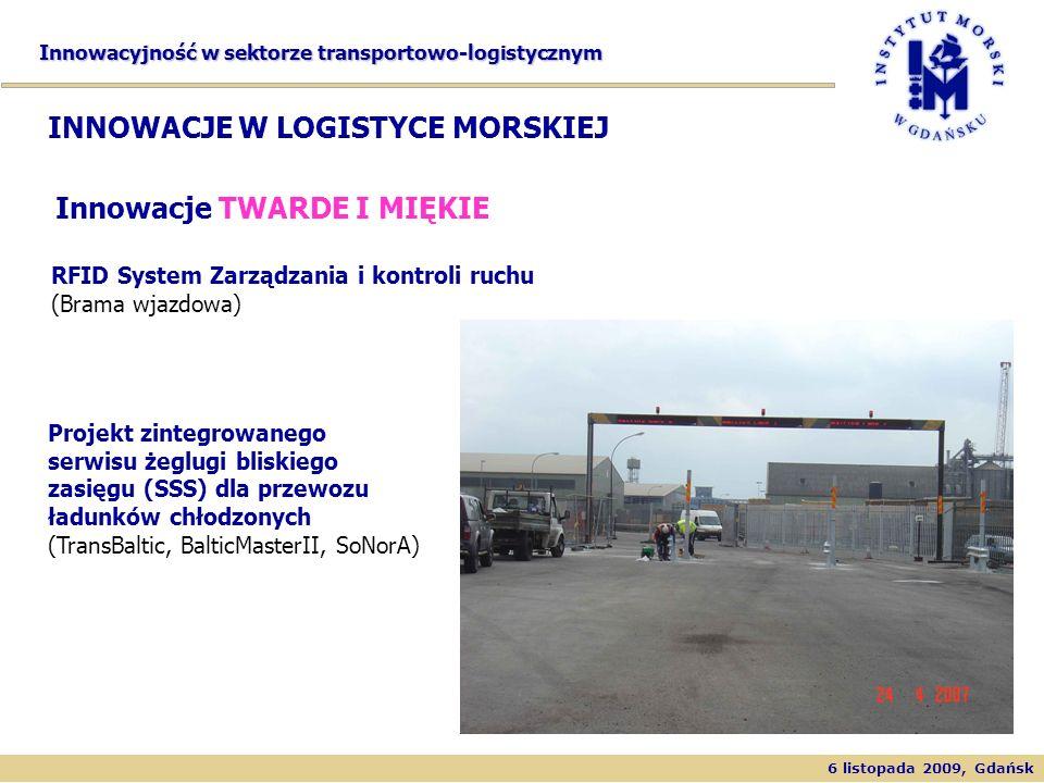 6 listopada 2009, Gdańsk Innowacyjność w sektorze transportowo-logistycznym RFID System Zarządzania i kontroli ruchu (Brama wjazdowa) INNOWACJE W LOGI