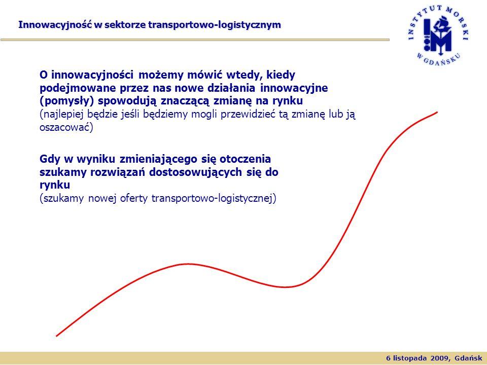 6 listopada 2009, Gdańsk Innowacyjność w sektorze transportowo-logistycznym O innowacyjności możemy mówić wtedy, kiedy podejmowane przez nas nowe dzia