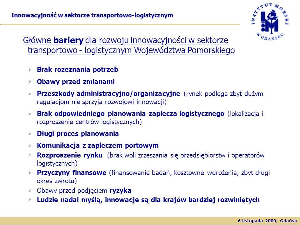 6 listopada 2009, Gdańsk Innowacyjność w sektorze transportowo-logistycznym Timber Products Brak rozeznania potrzeb Obawy przed zmianami Przeszkody ad