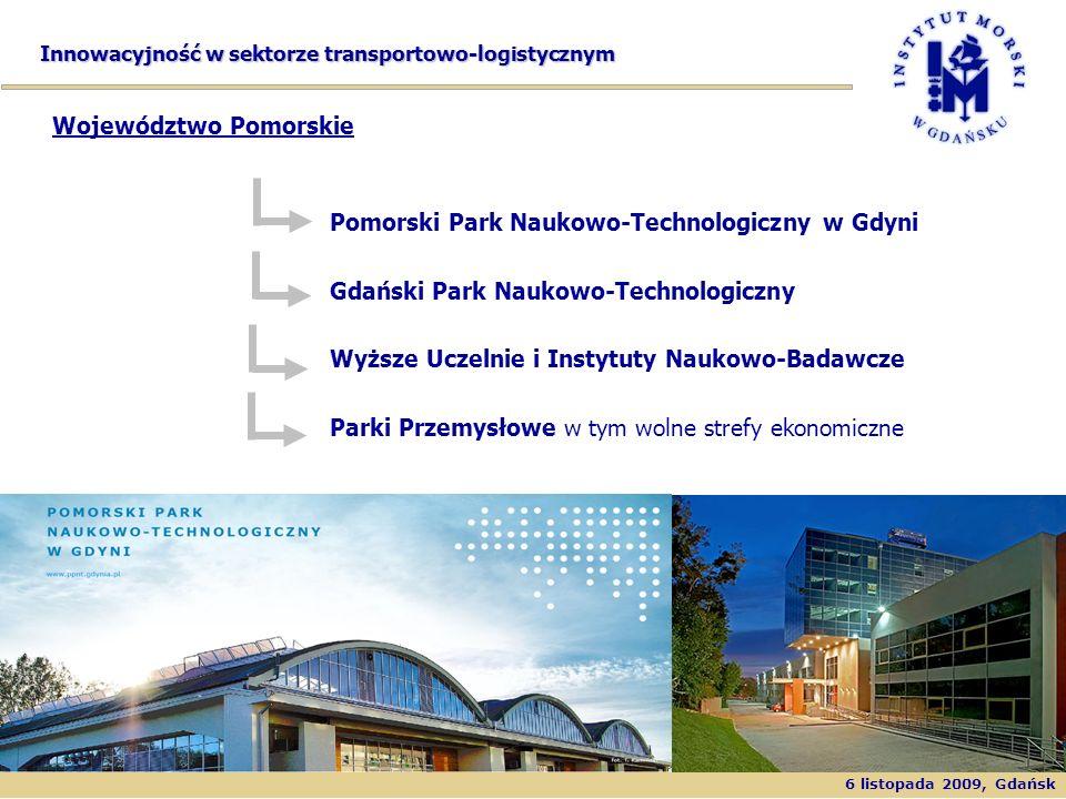 6 listopada 2009, Gdańsk Innowacyjność w sektorze transportowo-logistycznym Pomorski Park Naukowo-Technologiczny w Gdyni Gdański Park Naukowo-Technolo