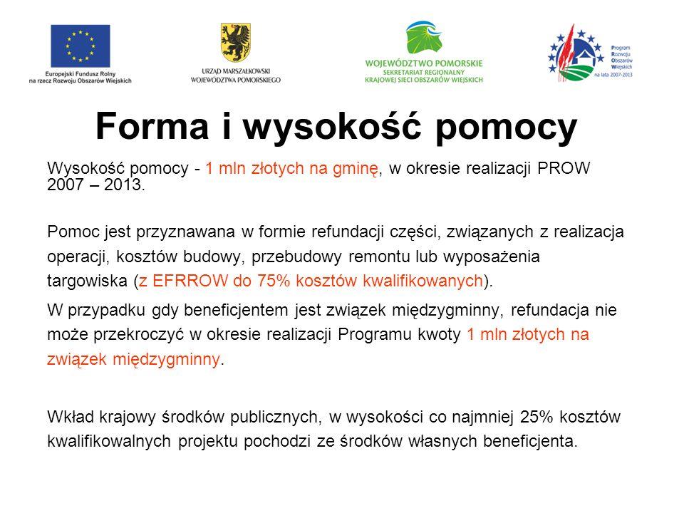Forma i wysokość pomocy Wysokość pomocy - 1 mln złotych na gminę, w okresie realizacji PROW 2007 – 2013.