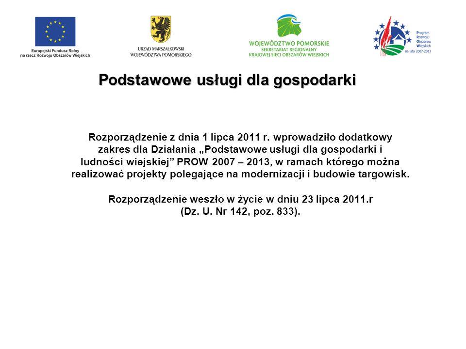 Podstawowe usługi dla gospodarki Rozporządzenie z dnia 1 lipca 2011 r.
