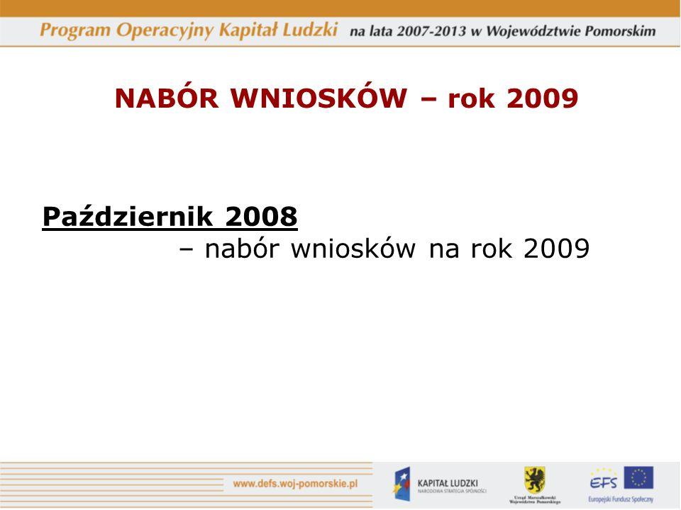 Październik 2008 – nabór wniosków na rok 2009 NABÓR WNIOSKÓW – rok 2009