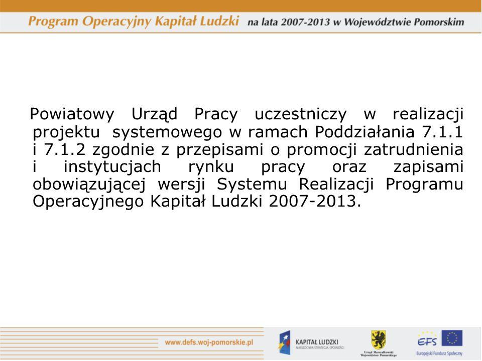 Powiatowy Urząd Pracy uczestniczy w realizacji projektu systemowego w ramach Poddziałania 7.1.1 i 7.1.2 zgodnie z przepisami o promocji zatrudnienia i instytucjach rynku pracy oraz zapisami obowiązującej wersji Systemu Realizacji Programu Operacyjnego Kapitał Ludzki 2007-2013.